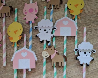Birthday party, drinking straw suitable for barnyard/ farm theme