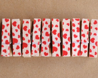 Red hearts clothespins, Valentines clothespins, red heart washi tape, wrap valentines gift, wooden clothespins, love clothespins, snail mail