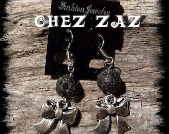 Bow charm earrings and black lava stone #5 beads