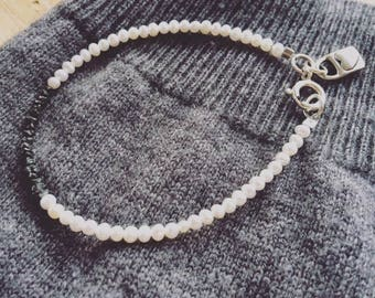 Rough Black Diamond and Pearl Bracelet with heart Charm