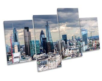 Skyline City London Multi CANVAS WALL ART Print Picture