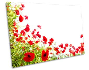 Poppies Flowers Floral Poppy Red CANVAS WALL ART Box Framed