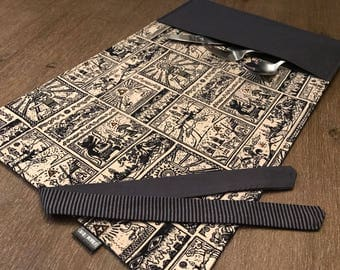 ZELDA / placemat roll utenciles, portable place mat, for school, for work, placemat for lunchbox!