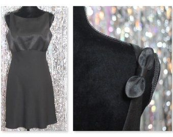 90's Adrianna Papell Black Dress with Bow Straps (12) *Mint Condition