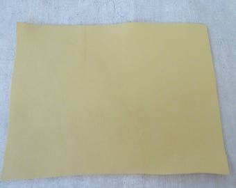 rectangle pale yellow leather 10 x 15 cm, fine and smooth