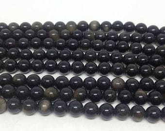 "Black Obsidian 6mm Round Beads ~ 15"" Full Strand ~ 62 Beads ~ A Quality ~ BR607"