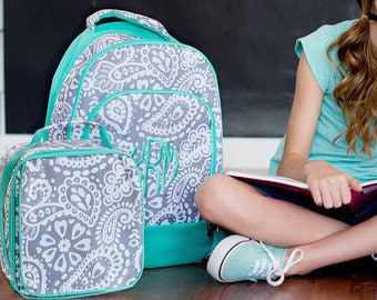 Paisley Backpack Grey and White Paisley-lunch box-back to school-girls