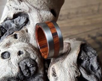 Ironwood ring with titanium bands