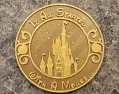 DW Castle and Stars Personalized Inspired Sign - Dual Brown / Gold Color (Disney Prop Inspired Replica)