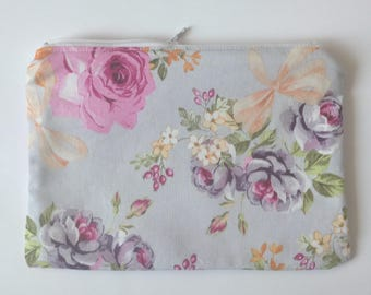 makeup bag Custom personalized accessories pouch zipper pouch cosmetic bag sunglasses pouch  - Purple floral print zippered pouch