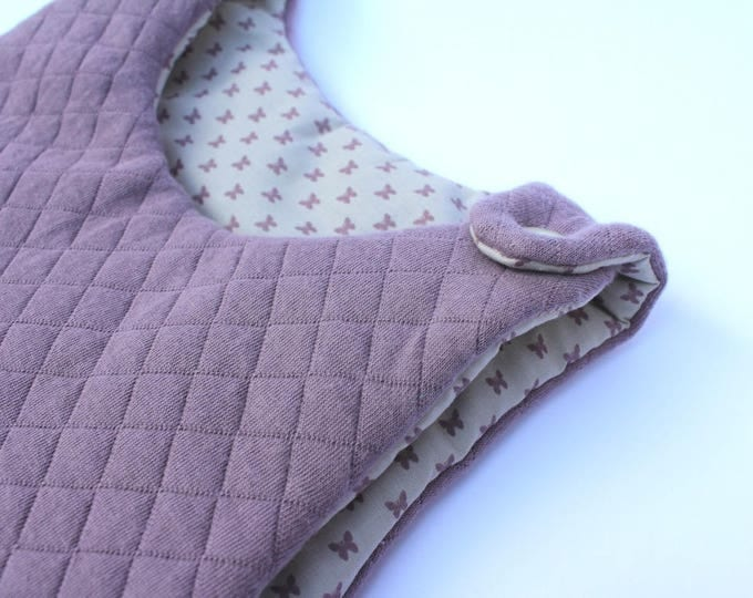 Sleeping bag / sleeping bag (0-6 months) birth colors fig and beige pattern butterfly - fabric from France Duval Stalla.
