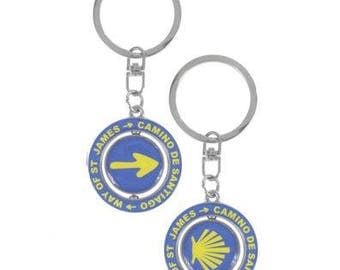 Camino de Santiago Keychain / St James / Pilgrim / Rotates / Shell / Arrow