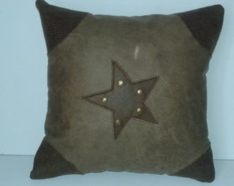 pillows with faux leather with a sheriff star