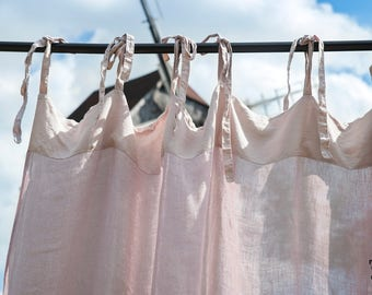 linen curtain, dusty rose curtain with ties, window curtain, light and thin window curtains, transparent, softened, pure linen