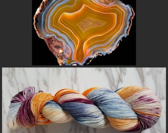 Hand Dyed Yarn, Merino, Nylon Fingering Weight Variegated Sock Yarn for Socks, Shawls, Lightweight Accessories - Condor Agate