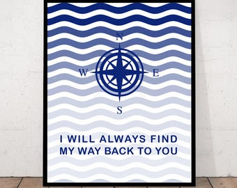 Maritime Print,  Maritime Home Decor, Compass Quote, Maritime Design, Maritime Decor, Quote Decor, Printable Quote, Maritime Quote, Compass