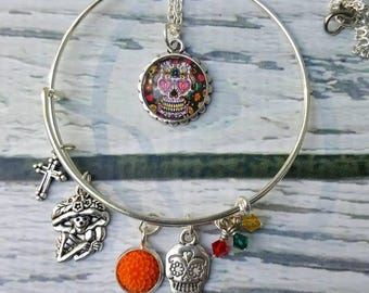 Día de los Muertos, Day of the Dead Bracelet, Sugar Skull Jewelry, Halloween, Fall Season, Gifts for Her, Free Shipping