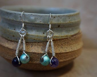 Purple, Turquoise and Sterling Silver Briolette Drop Earrings