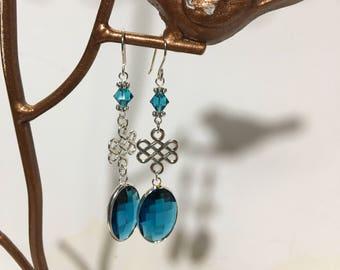 Celtic drop earrings, silver