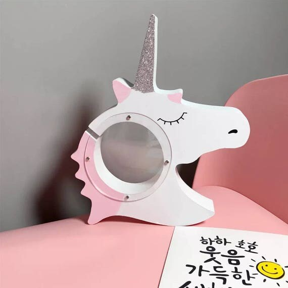 Pink unicorn money box wooden saving box for Cuarto de unicornio