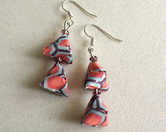 geometrical earrings - silver/blue and red  origami