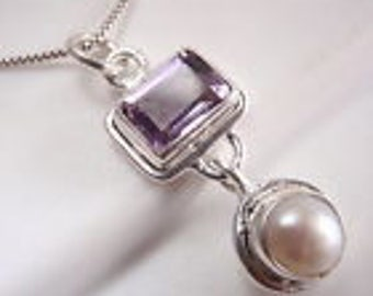 Beautiful Handmade Amethyst and Pearl Pendant 925 Sterling Silver