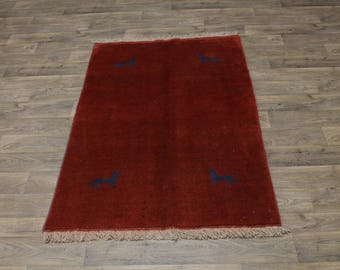 Beautiful Handmade Red Tribal Gabbeh Modern Persian Area Rug Oriental Carpet 4X6