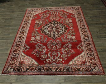 Beautiful Semi Antique Hand Knotted Lilian Persian Area Rug Oriental Carpet 7X10