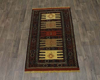 Fantastic Tribal Design Hand Woven Sumak Persian Rug Oriental Area Carpet 3X6