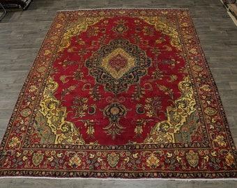 Nice Antique Gold Washed Handmade Tabriz Persian Area Rug Oriental Carpet 10X13