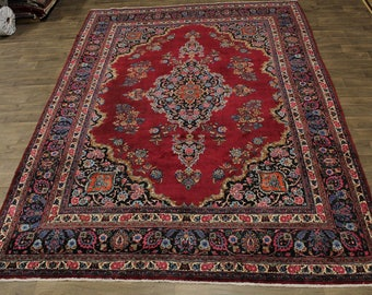 Beautiful Antique Hand Knotted Mashad Persian Rug Oriental Area Carpet 10X13'5