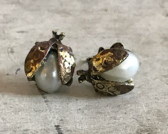 Lady Bug Pearl Earrings
