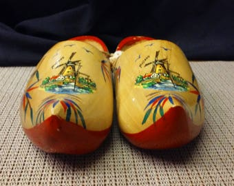 Holland vintage handmade wooden shoes made in mid-1900s