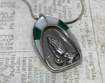 Vintage Zuni Praying Hand Pendant Necklace with Inlaid Mother Of Pearl and Malachite