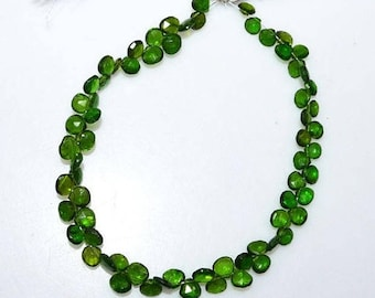 """50% OFF 1 Strand Chrome Diopside Faceted Heart Shape Briolette - Chrome Diopside Heart Briolette , 5.50x5.50 - 6x6 mm , 8.5"""" - BL3408"""