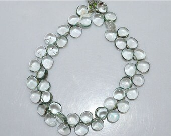 """50% OFF Natural Green Amethyst Smooth Heart Shape Beads - Green Amethyst Heart Shape Briolette , 8 x 8 mm , 8"""" , BL1851"""