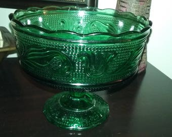 Vintage E. O. Brody Co. Cleveland Green Glass Pedestal Compote Bowl Dish
