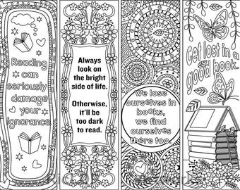 8 Printable Coloring Bookmarks with Hearts Coloring Digital