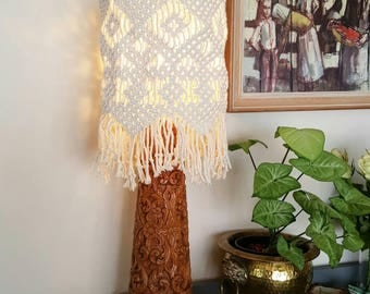 Macrame light shade - interior decor- neutral tones Bohemian style statement piece - shade only