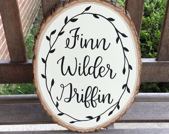 Baby Name Wood Sign | Hand Painted Wood Slice | Nursery Decor Sign | Baby Boy or Baby Girl Sign | Baby Shower Gift | New Baby Present