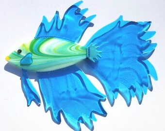 "Fused Glass Wall Art - ""BROOKE"", Tropical Art, Coastal Decor, Art glass home decor, Aqua Blue glass, Beach house wall art, Betta fish"