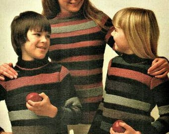 Family Striped Sweaters Knitting Pattern pdf, sizes 22 to 42 inch chest