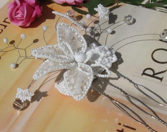 "Romantic Flower Wedding Comb ""Romance"". Embroidery in beads decorative wedding comb. FREE SHIPPING!!!"
