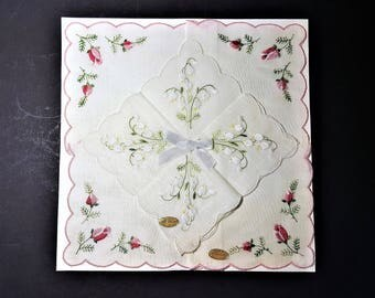 Vintage Handkerchiefs Embroidered Cotton Lawn Roses and Lily of the Valley Flowers Made in Switzerland Ladies Accessory Craft Supply