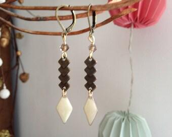 Wedding bronze and enamel earrings.
