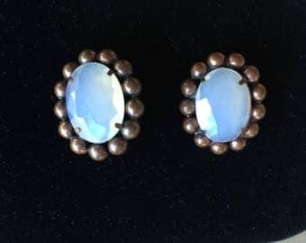 Vintage Moonstone Opaline Glass Earrings Mid-Century