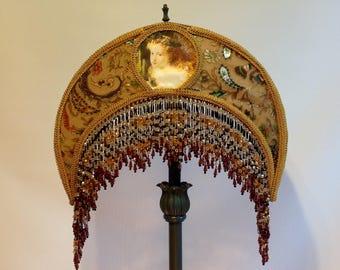 Lampshade BoHo Fairy Lampshade Gypsey Lampshade Victorian Beaded Lighting #bohodecor #Fairy lighting