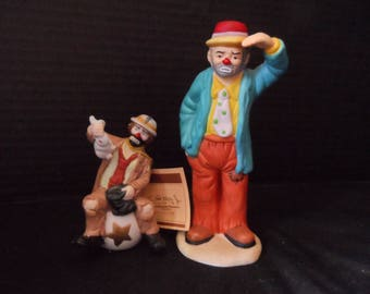 Flambro  Emmett Kelly Jr Collection Clown Pulling Rabbit out of Hat Original Tag  1994, 1983 Looking Out To See 1328