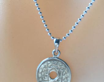 Silver French Coin pendants/French coins/Sterling ball chain/French necklace/France/Coin pendants/Silver coin pendants