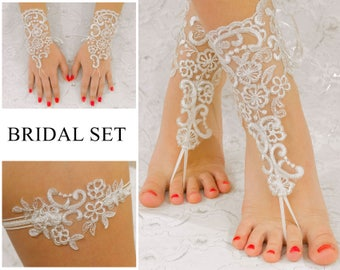 Bridal Set, Lace Wedding Gloves, Lace Garter, Beach Wedding Barefoot Sandals,